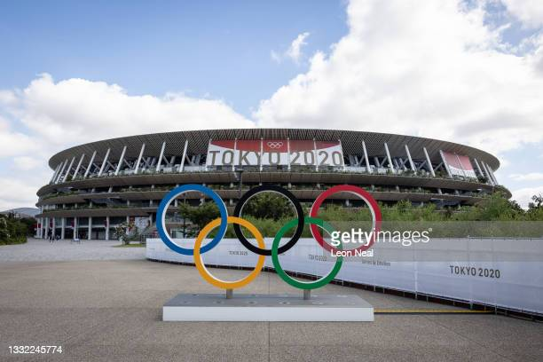 General view of the exterior of the Olympic Stadium as the Athletics continues on day 12 of the Tokyo Olympic Games on August 04, 2021 in Tokyo,...