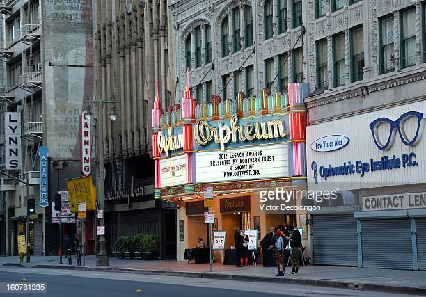 General view of the exterior of the Orpheum Theatre on South Broadway Avenue on October 13, 2012 in Los Angeles, California.
