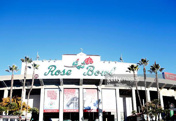 A general view of the exterior of the Rose Bowl before the 102nd Rose Bowl Game between the Stanford Cardinal and the Iowa Hawkeyes on January 1 2016...