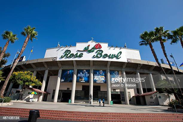 General view of the exterior of the Rose Bowl before the game between the UCLA Bruins and the Virginia Cavaliers on September 5 2015 in Pasadena...
