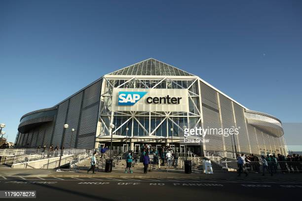 General view of the exterior of the SAP Center before the San Jose Sharks game against the Vegas Golden Knights on October 04, 2019 in San Jose,...