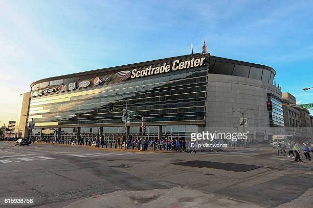 General view of the exterior of the Scottrade Center prior to a game between the St. Louis Blues and the Minnesota Wild on October 13, 2016 in St....