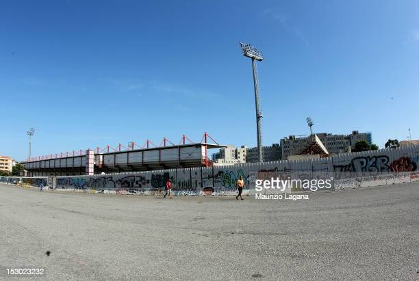 General view of the exterior of the stadium before the Serie B match between FC Crotone and AS Livorno at Stadio Comunale Ezio Scida on September 29,...