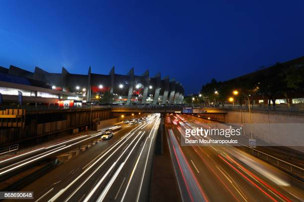 A general view of the exterior of the stadium Parc des Princes prior to the UEFA Champions League group B match between Paris SaintGermain and RSC...