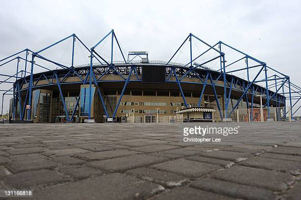 A general view of the exterior of the The Metalist Stadium on November 2 in Kharkov Ukraine Kharkov is Ukraine's second largest city and is a...