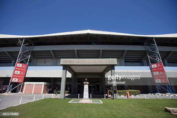 A general view of the exterior of the Tsirion Stadium before the Cypriot First Division match AEL Limassol FC and APOEL FC at the Tsirion Stadium on...
