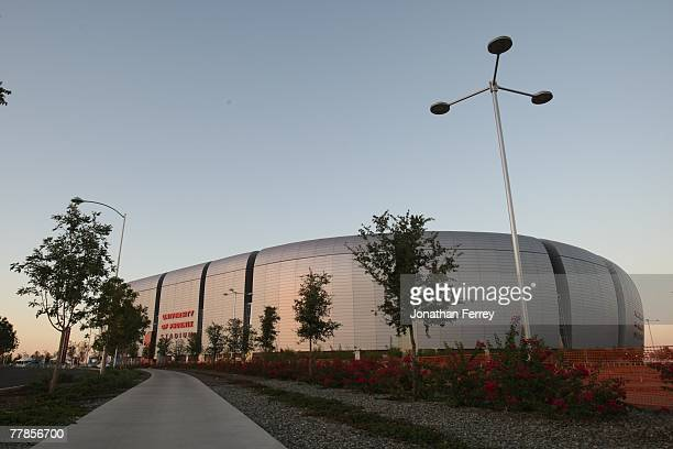 A general view of the exterior of the University of Phoenix Stadium host of Super Bowl XLII before the NFL game between the Pittsburgh Steelers and...