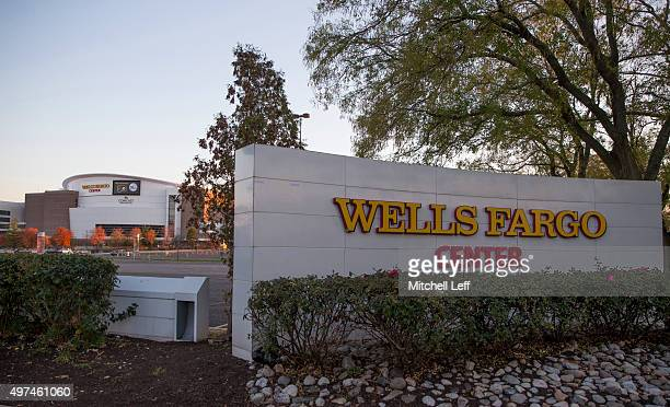 A general view of the exterior of the Wells Fargo Center prior to the game against the Dallas Mavericks and Philadelphia 76ers on November 16 2015 at...