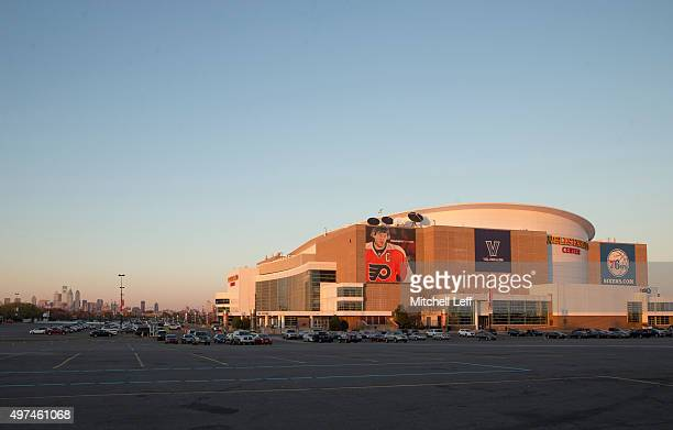 General view of the exterior of the Wells Fargo Center prior to the game against the Dallas Mavericks and Philadelphia 76ers on November 16, 2015 at...