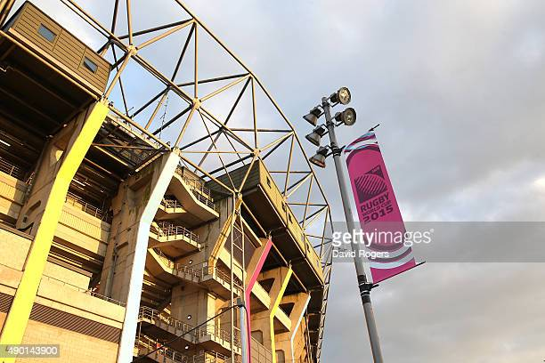 A general view of the exterior of the west stand with during the 2015 Rugby World Cup Pool A match between England and Wales at Twickenham Stadium on...