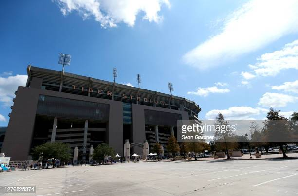 General view of the exterior of Tiger Stadium prior to to the start NCAA football game between the LSU Tigers and the Mississippi State Bulldogs at...