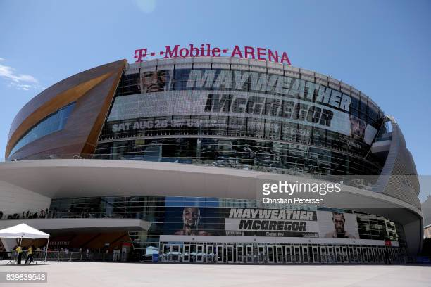A general view of the exterior of TMobile Arena before Floyd Mayweather Jr takes on Conor McGregor in their super welterweight boxing match on August...