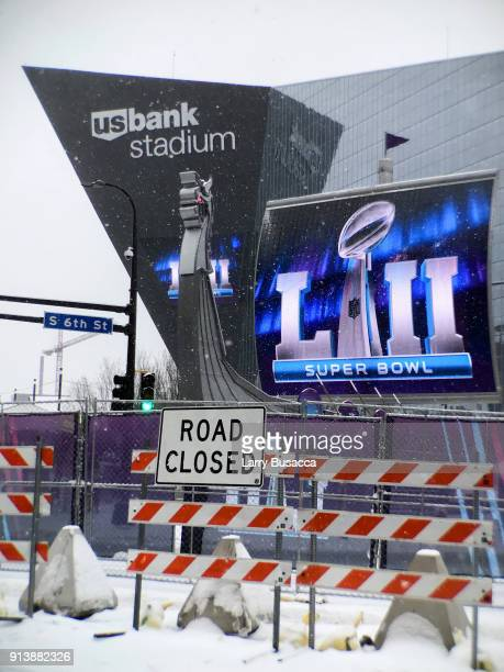 A general view of the exterior of US Bank Stadium on February 3 2018 in Minneapolis Minnesota Super Bowl LII will be played between the New England...