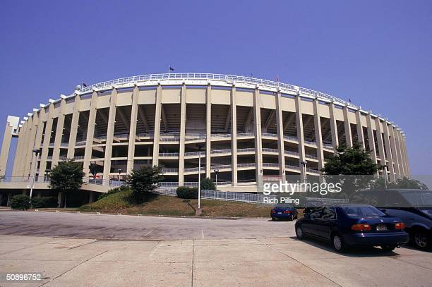 A general view of the exterior of Veterans Stadium during the game between the Philadelphia Phillies and Florida Marlins on June 18 1995 in...