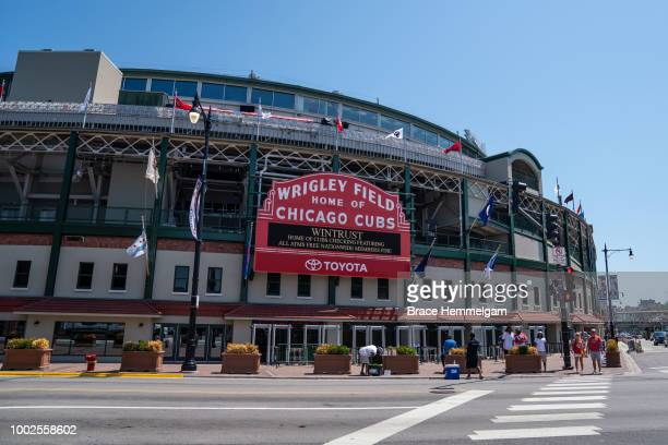 A general view of the exterior of Wrigley Field prior to the game between the Minnesota Twins and Chicago Cubs on June 29 2018 at Wrigley Field in...