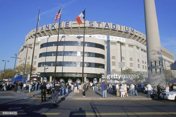 A general view of the exterior of Yankee Stadium on October 21 2000 in Bronx New York