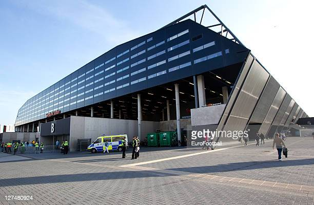 A general view of the exterior Swedbank Stadion before the Allsvenskan League between Malmo FF and AIK Solna at the Swedbank Stadion on September 25...