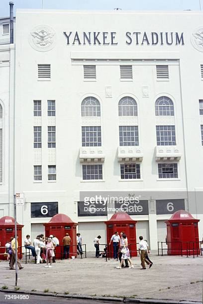 General view of the exterior ticket booths and entrance gate 6 prior to a MLB game on July 4 1972 between the Oakland A's and the New York Yankees at...
