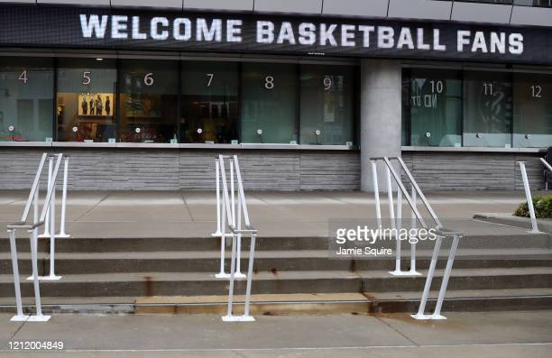 A general view of the exterior ticket window of the Sprint Center as no fans will be allowed inside the remainder of the Big 12 tournament games at...