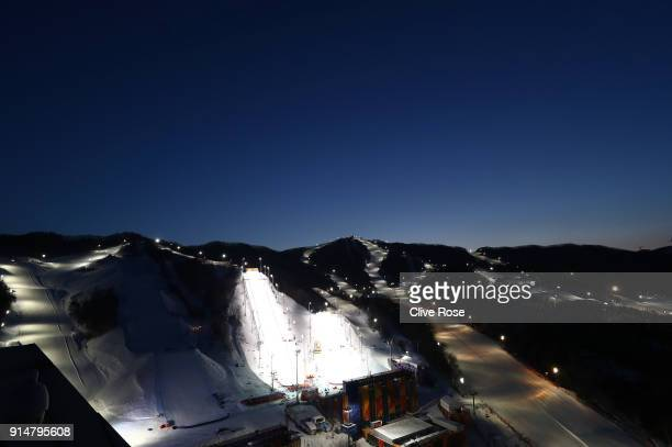 A general view of the extreme skiing courses ahead of the PyeongChang 2018 Winter Olympic Games at Phoenix Park on February 6 2018 in Pyeongchanggun...