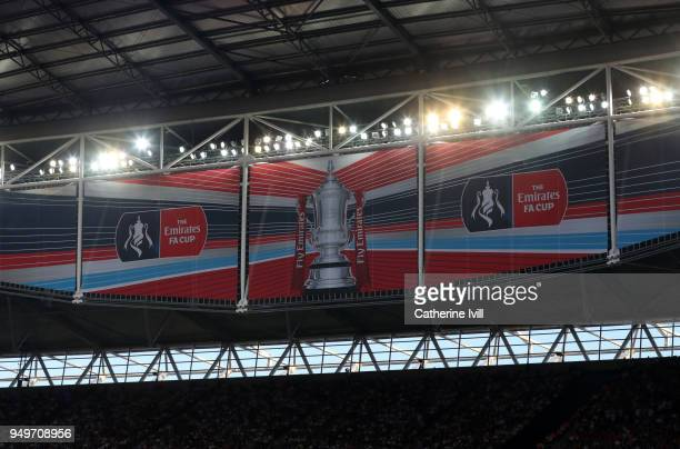 General view of the FA Cup logo during The Emirates FA Cup Semi Final between Manchester United and Tottenham Hotspur at Wembley Stadium on April 21...