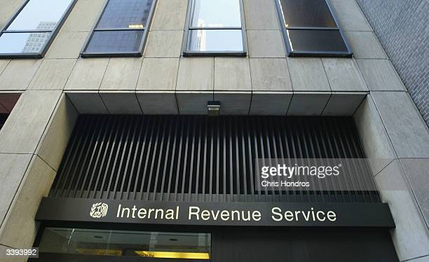 A general view of the facade of the Internal Revenue Service's Manhattan office April 15 2004 in New York City New Yorkers turned out in droves to...