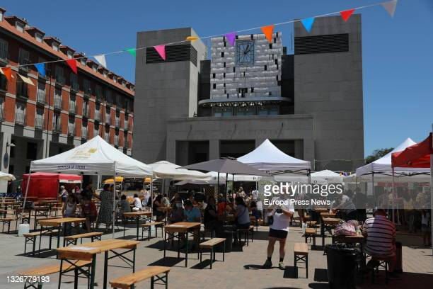 General view of the facilities of the Leganes Beer Festival, on 3 July, 2021 in the Plaza Mayor of Leganes, Madrid, Spain. The festival, which kicked...