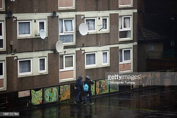 A general view of the Falinge Estate which has been surveyed as the most deprived area in England for a fifth year in a row on January 8 2013 in...