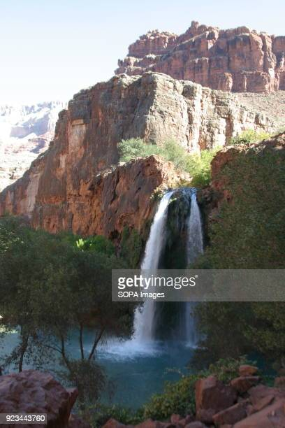 A general view of the falls After an eleven mile hike with a one mile descent the scenic Havasu Falls campground on the tribal land of the Havasu...