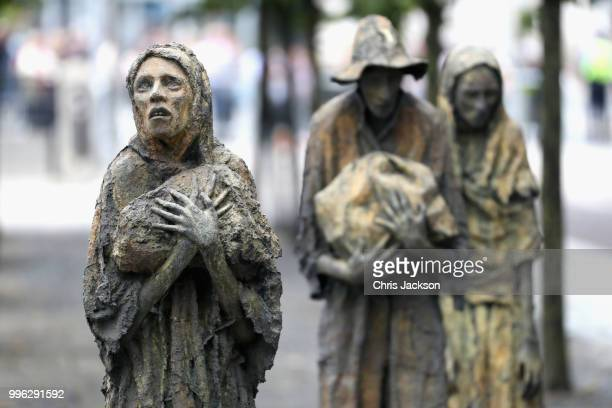 A general view of the Famine Memorial on the bank of the River Liffey ahead of Prince Harry Duke of Sussex and Meghan Duchess of Sussex's visit to...