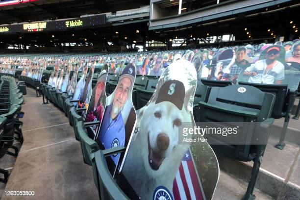 General view of the fan cutouts prior to an Opening Day game between the Seattle Mariners and Oakland Athletics at T-Mobile Park on July 31, 2020 in...