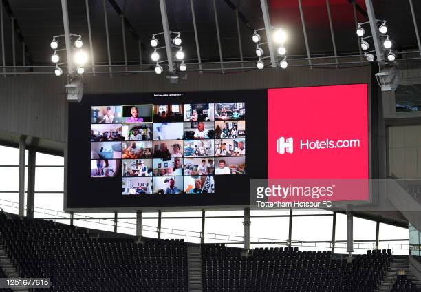 General view of the fan wall on the screen during the Premier League match between Tottenham Hotspur and West Ham United at Tottenham Hotspur Stadium...