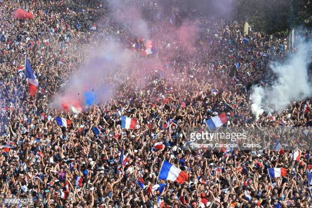 General view of the Fan Zone at the 'Champs de Mars' after the victory of France against Croatia during the World Cup Final at the Champs de Mars on...
