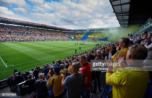 General view of the fans and the two teams walking on to the pitch prior to the Danish Alka Superliga match between Brondby IF and FC Copenhagen at...