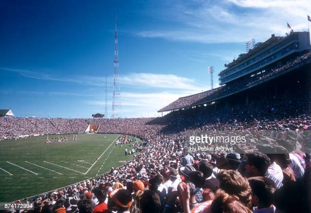 General view of the fans during the Red River Rivalry between the ranked Oklahoma Sooners and Texas Longhorns on October 8, 1955 at the Cotton Bowl...