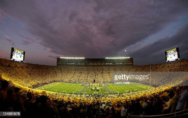General view of the fans filling University of Michigan Stadium prior to the start of the game between the Michigan Wolverines and the Notre Dame...