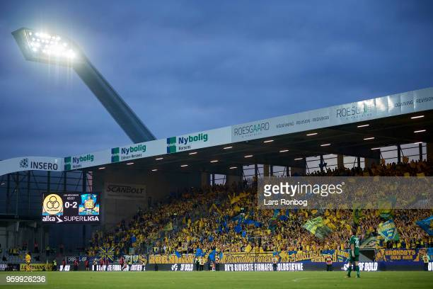 General view of the fans of Brondby IF during the Danish Alka Superliga match between AC Horsens and Brondby IF at CASA Arena Horsens on May 18 2018...