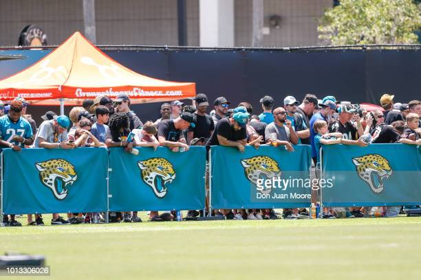 A general view of the fans of the Jacksonville Jaguars during Training Camp at Dream Finders Homes Practice Complex on July 27 2018 in Jacksonville...