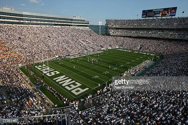 General view of the fans of the Penn State Nittany Lions during game against the University of Iowa Hawkeyes at Beaver Stadium on October 6, 2007 in...