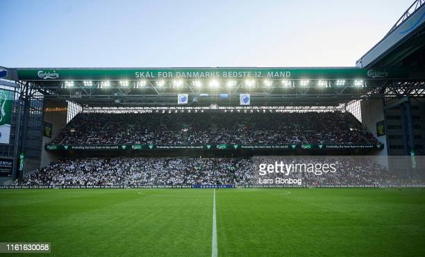 General view of the fans the pitch and the stands prior to the UEFA Champions League 3rd Round Qual match between FC Copenhagen and Crvena Zvezda at...