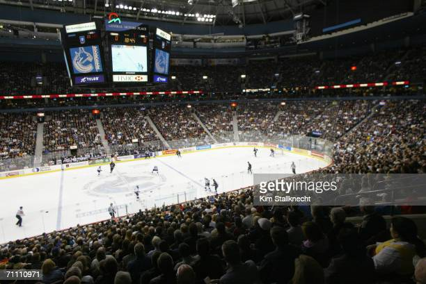 General view of the fans watching the game between the Los Angeles Kings and Vancouver Canucks in the GM Place Arena taken on March 28, 2006 in...