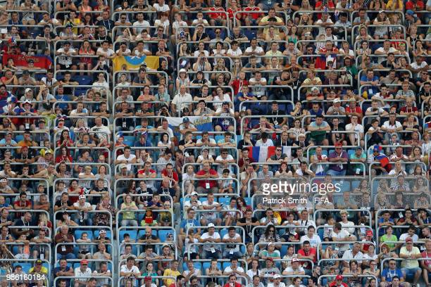 General view of the fans watching the match during the 2018 FIFA World Cup Russia group H match between Japan and Poland at Volgograd Arena on June...