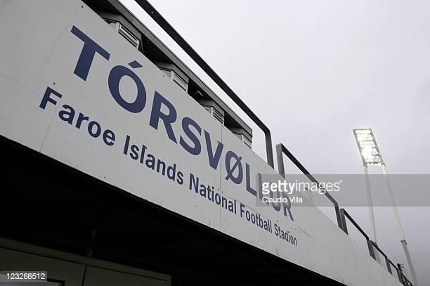 General view of the Faroe Islands National Football Stadium, Torsvollur Stadium on September 1, 2011 in Torshavn, Denmark.