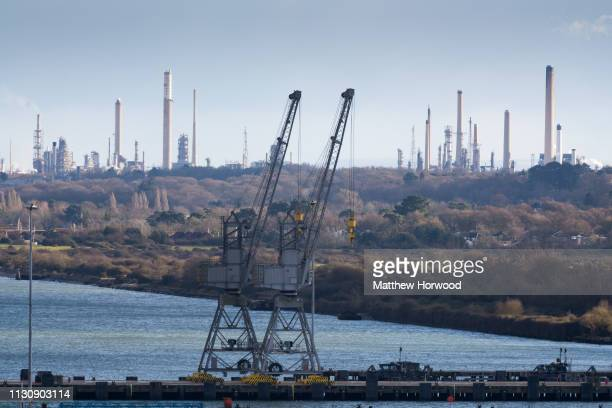 A general view of the Fawley oil refinery owned by Esso seen from the Port of Southampton on February 10 2019 in Southampton England The nearby Port...