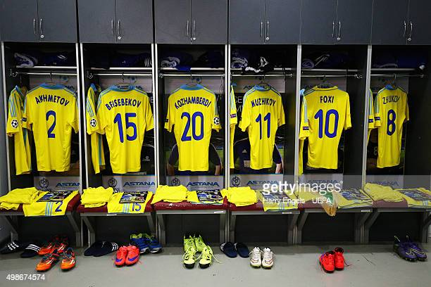 A general view of the FC Astana changing room ahead of the UEFA Champions League match between FC Astana and SL Benfica at the Astana Arena on...