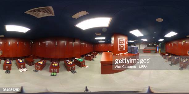 A 360 general view of the FC Barcelona dressing room ahead of the UEFA Champions League Round of 16 Second Leg match between FC Barcelona and Chelsea...