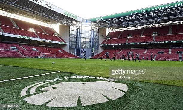General view of the FC Copenhagen training session at Telia Parken Stadium on January 12 2017 in Copenhagen Denmark