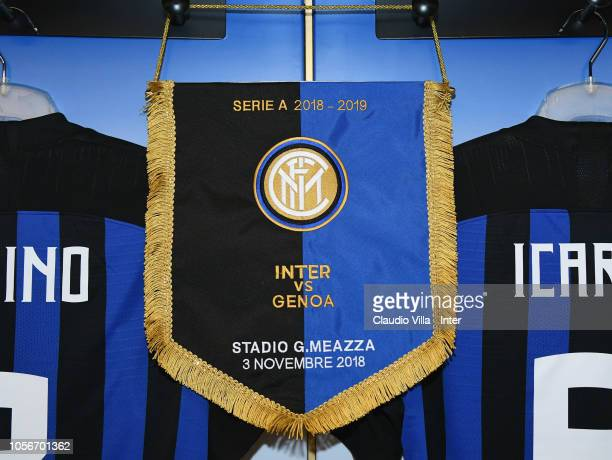 A general view of the FC Internazionale dressing room ahead of the Serie A match between FC Internazionale and Genoa CFC at Stadio Giuseppe Meazza on...