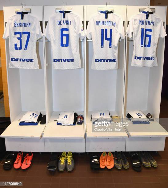 A general view of the FC Internazionale dressing room ahead of the Serie A match between ACF Fiorentina and FC Internazionale at Stadio Artemio...