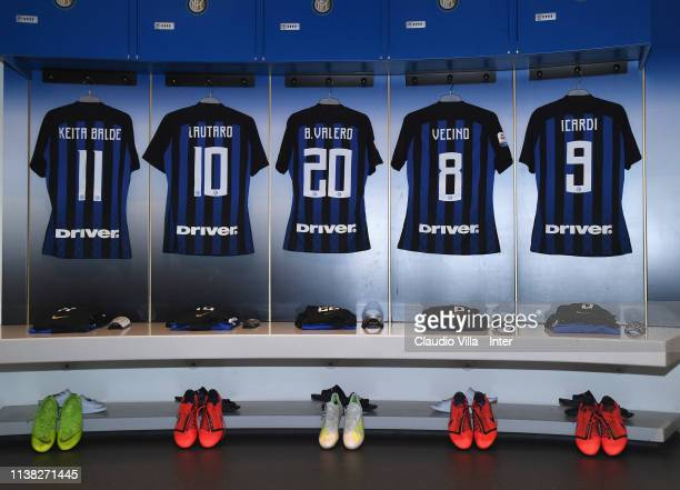 A general view of the FC Internazionale dressing room ahead of the Serie A match between FC Internazionale and AS Roma at Stadio Giuseppe Meazza on...